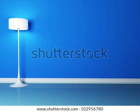 floor lamp in the blue room, rendering - stock photo