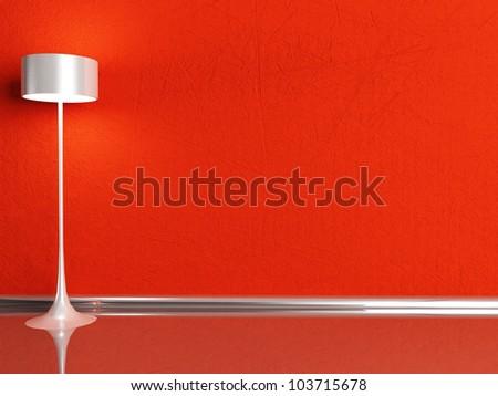 floor lamp in the red room, rendering - stock photo