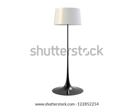 Floor Lamp isolated on white - stock photo