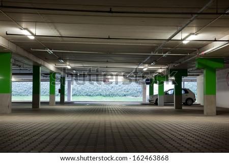 Floor of underground parking lot - stock photo
