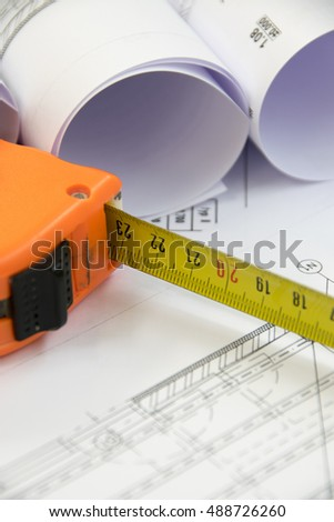Floor plan designed building on the drawing - background