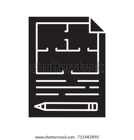 Floor plan flat blueprint pencil glyph stock illustration 711482890 floor plan flat blueprint with pencil glyph icon apartment layout silhouette symbol house malvernweather Image collections