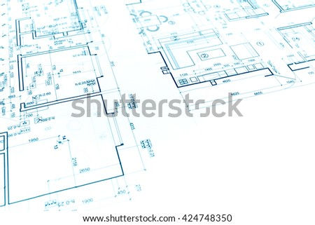 Floor Plan Project, Technical Drawing, Construction Blueprint Background