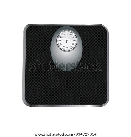 Floor scales, floor scales isolated, floor scales raster, black floor scales - stock photo