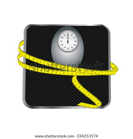Floor scales with tape measuring raster isolated on white