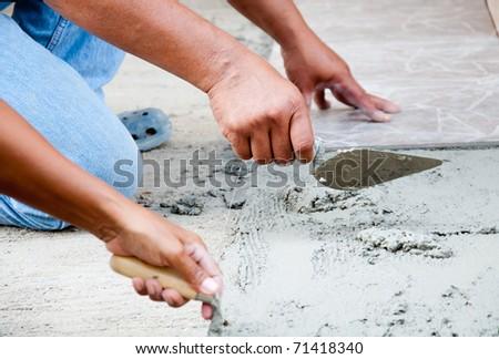 Floor Tile Installation - stock photo