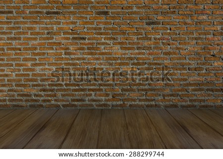 Floor Wood, Wall Red Brick,  Backgrounds, Texture, Pattern, Interior - stock photo