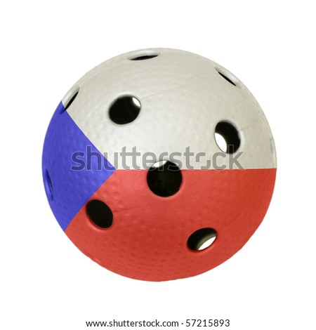 Floorball ball with the flag of Czech Republic, a team participating in the world championship of 2010.