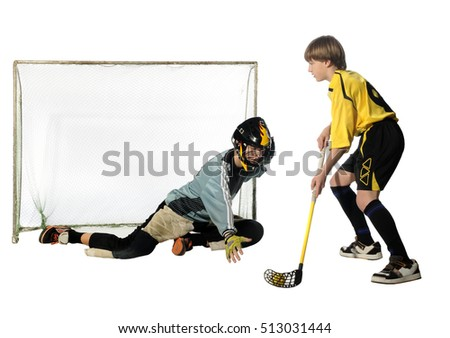 floorball player and goalkeeper on the white background