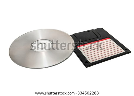 Floppy Disc and Compact Disc - stock photo