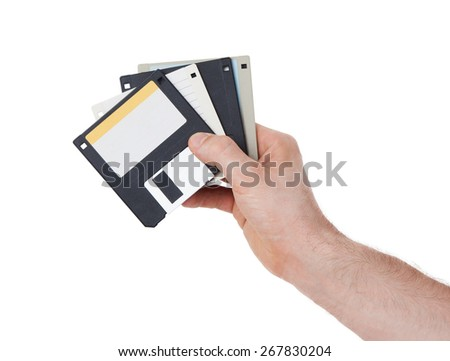 Floppy disk, data storage support, isolated on white - stock photo