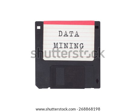 Floppy disk, data storage support, isolated on white - Data mining - stock photo