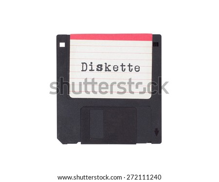 Floppy disk, data storage support, isolated on white - Diskette - stock photo