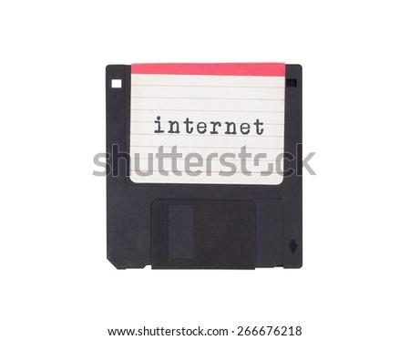 Floppy disk, data storage support, isolated on white - Internet - stock photo