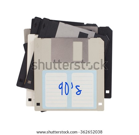Floppy disk, data storage support, isolated on white - 90s - stock photo