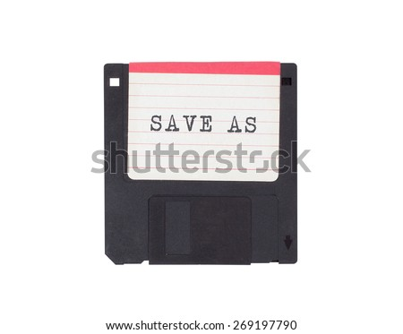 Floppy disk, data storage support, isolated on white - Save as - stock photo