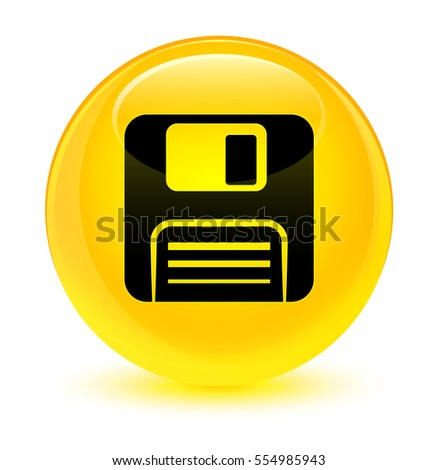 Floppy disk icon glassy yellow round button