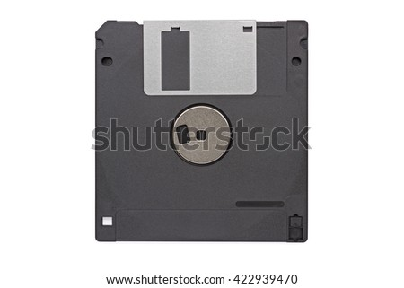 Floppy disk 3 1/2 inch back, clipping path included  - stock photo
