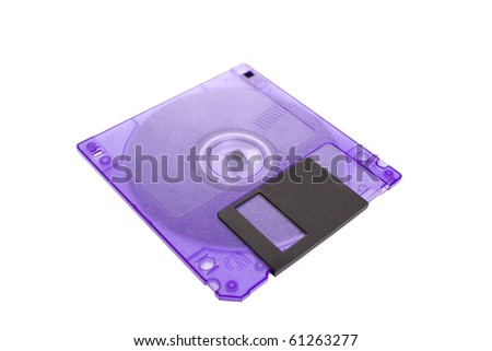 Floppy disk magnetic computer data storage support isolated over white background - stock photo