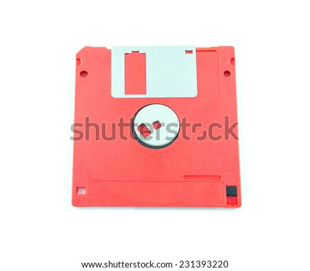 Floppy disk on white background - stock photo