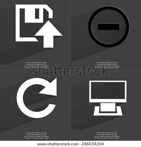 Floppy disk upload icon, Minus sign, Reload icon, Monitor. Symbols with long shadow. Flat design. Raster copy - stock photo