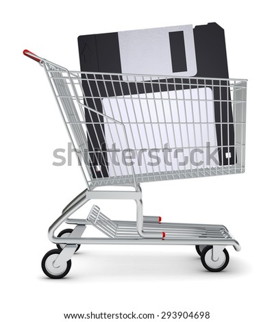 Floppy in shopping cart on isolated white background