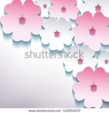 Floral abstract stylish background with 3d flower sakura pink and white. Creative background. Raster version - stock photo
