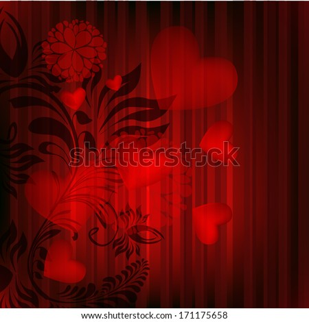 Floral abstraction with hearts. Happy Valentine's Day. Raster