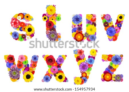 Floral Alphabet Isolated on White. Eight Letters S, T, U, V, W, X, Y, Z made of many colorful and original flowers - stock photo