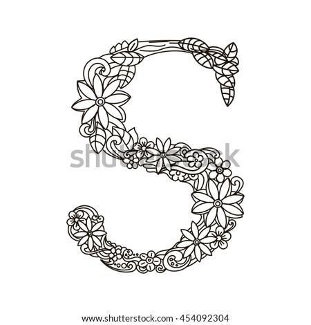 Floral Letters Coloring : Best 25 large letter stencils ideas only on pinterest printable