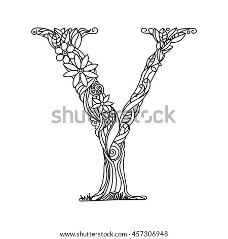 Floral Letters Coloring : Floral letter font alphabet twig stock vector 374353996 shutterstock
