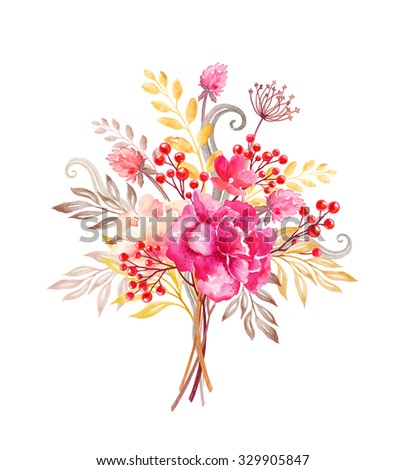 floral arrangement, flowers bouquet, design elements, watercolor illustration isolated on white background