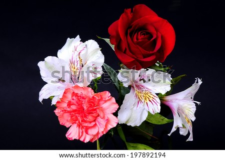 Floral arrangement isolated over a black background - stock photo