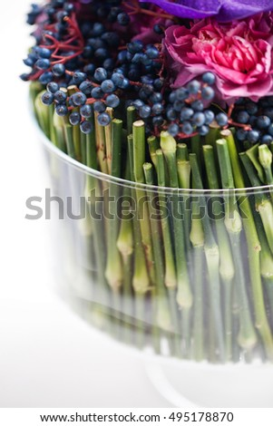 Floral art in a glass vase, selective focus