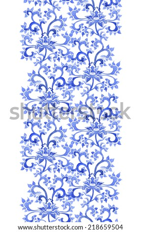 Floral asian ornamental repeating border frame. Watercolor decorative ornament of Asia - stock photo