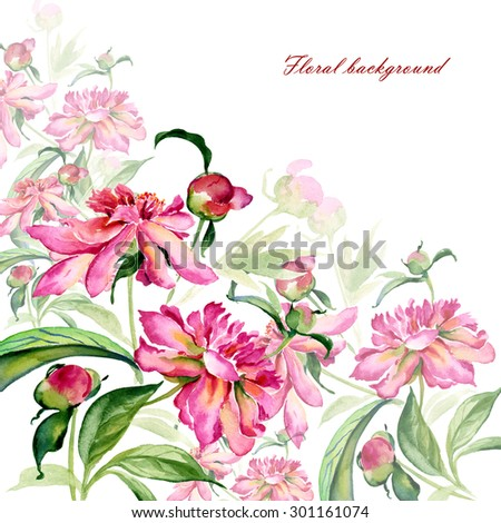 Floral background and Watercolor illustration of a bouquet of peonies with buds. - stock photo