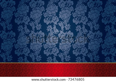 Floral background, blue. Perfect as invitation or announcement.  Pattern is included as seamless swatch. - stock photo
