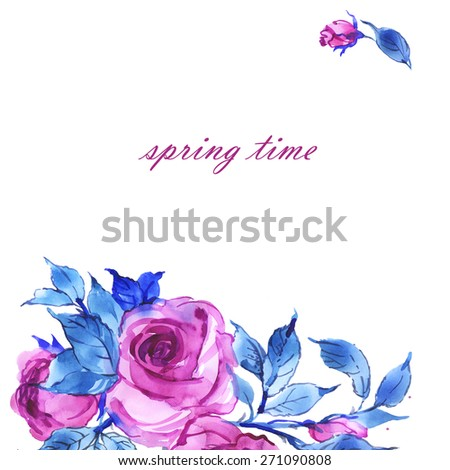 Floral background delicate pink roses - stock photo