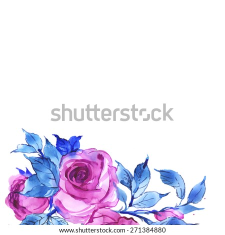 Floral background delicate pink roses-4 - stock photo