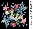 floral background. delphiniums...