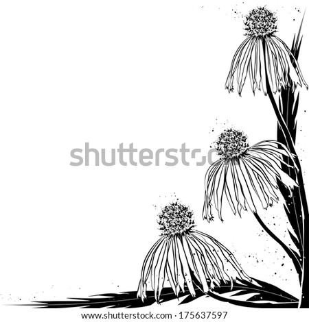floral background in black color for corner design