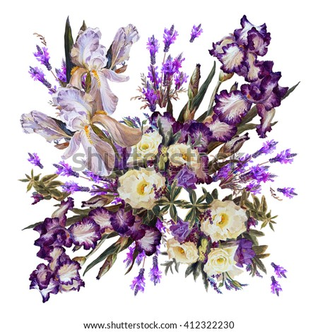 Floral background. Iris white, purple and lavender on a white background. Shawl. Watercolor painting. - stock photo