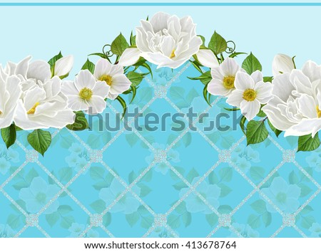 Floral background, pattern, seamless. Flower garland of white spring flowers and anemones.Horizontal floral border. - stock photo