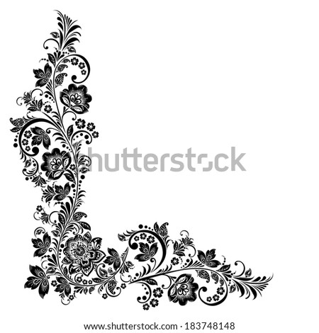 floral background. Russian traditional ornament Hohloma. black and white design elements - stock photo