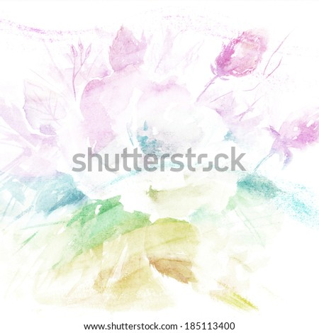 Floral background. Watercolor floral bouquet. Birthday card.