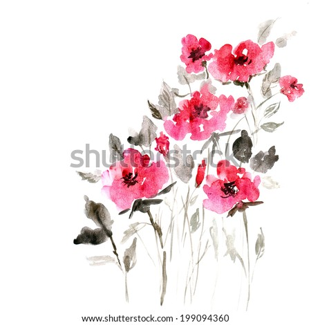 Floral background. Watercolor floral bouquet. Birthday card. - stock photo