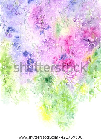 Floral background. Watercolor floral bouquet. Birthday card. Floral decorative frame. - stock photo