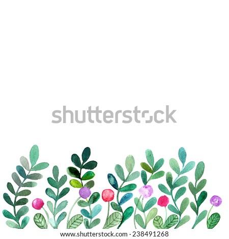 Floral background. Watercolor floral bouquet. Invitation. Floral border. - stock photo