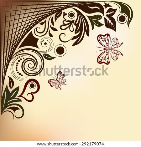 Floral background with flying butterflies and copy space.  - stock photo