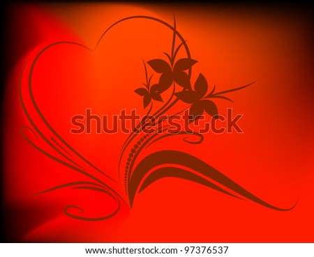floral background with heart